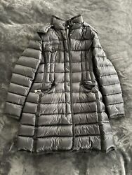 Moncler Hermine Down Coat Black Size 3 L Mid-length With Hood 100 Authentic
