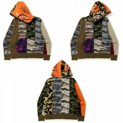 A Bathing Ape Men's Relaxed Fit Full Zip Hoodie Crazy Camo Mad Shark From Japan