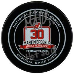 Martin Brodeur New Jersey Devils Autographed Retirement Night Official Game Puck