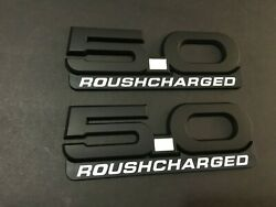 2015-2020 Mustang Gt Billet Coyote 5.0 Emblems Roush Charged Badge Black/w -2pcs