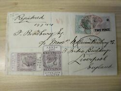 Wa 1882 Perth - Liverpool Cover And039irand039 Surcharges 2d On 3d Andfrac12d 1d 2d Swan Birds