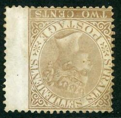 Straits Settlements Sg 11w 2c Yellow-brown Queen Victoria With Wing Margin M