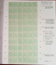 Australia Postage Due Sg D4 3d Right Pane Of 60 With Varieties Annotated. Superb
