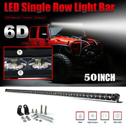 6d 2400w 50in Single Row Led Light Bar Slim For Gmc Chevy Bumper Roof Vs 52in