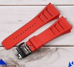 19 Mm Red Wrist Strap Black Titanium Buckle Watch Band For Richard Mille Rm11