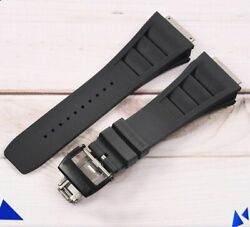 Black Rubber Strap Black Buckle Watch Band Made For Rm11 Richard Mille 19 Mm