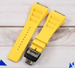 Black Titanium Buckle Yellow Wrist Strap Watch Band For Richard Mille Rm11 19 Mm
