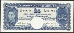 Australia R48 £5 Five Pound Qe11 Coombs/wilson Uncirculated Banknote