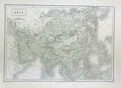 Old Antique Map Of Asia C1856 By Sidney Hall Original Engraved With Wash Colour