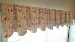 Floral Cottage Farmhouse Scalloped Wide Long Valance That Is Lined -104w X 18l