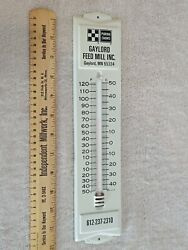 Vintage Purina Chows Gaylord Feed Mill Mn Thermometer Metal Sign