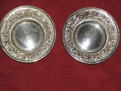 Two Vintage Stieff Floral Repousse Sterling Silver Bowls 53-x 1956
