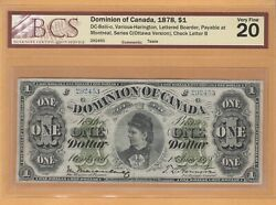 Dominion Of Canada Payable Montreal Series C 1 1878 Dc-8eiii-o Bcs-20 Banknote