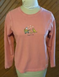 Life Is Good Women's Size S Knit Top Mauve Rose Night Life Campfire Long Sleeve