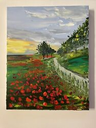 Poppies Oil Painting Impressionism 20 X 16 Inches Emerging Artist Palette Knife