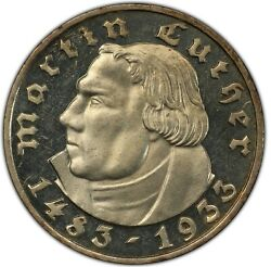 1933-a Germany Third Reich Proof Martin Luther Silver 5 Mark Pcgs Pr-63 Cameo.