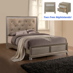 New Champagne Gold Queen King 3pc Modern Bedroom Furniture Bed 2 Nightstands Set