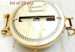 Shiny Brass Nautical Compass Military Lensatic Camping Compass 3 Vintage Style