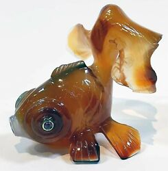 Rare Russian Carved Agate Figurine Of Goldfish
