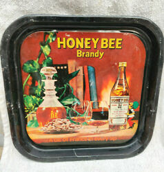 1960s Vintage Honey Bee Brandy Advertising Tin Tray A Bit Of France In Every Sip