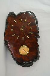 Burl Wood Clock With Thermometer France Vertical Orientation 17 Works Vtg