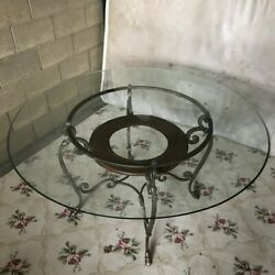 Vintage Wrought Iron Base 42 Round Glass Ogee Edge Top Dining Table