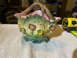 Vintage Porcelain Clamshell With Embossed Roses Planter Vase - Made In Japan
