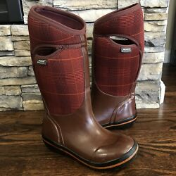 Bogs Of Wales Women Size 6 Burgundy Tall Insulated Rubber Rain Boot 71540