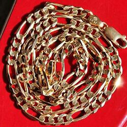 14k Yellow Gold Necklace 18.0 Italian Solid Figaro Link Vintage Handmade 16.0gr