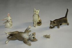 5 Pc Hagen Renaker Pedros Prowling Sitting Cat Mouse Mama Bunny Rabbit Figurines