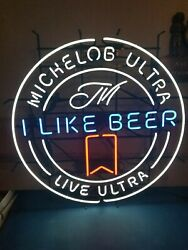 Michelob Ultra Neon Light Up Sign 36 I Like Beer Live Ultra Game Room Man Cave