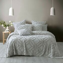 Bianca Willow Silver Coverlet Set | Geometric Pattern That Requires No Ironing