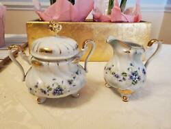 Lefton China Hand Painted 1075v Footed Creamer And Sugar Bowl Blue Violet Flowers