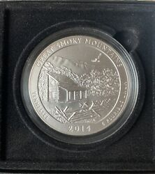 2014 P Atb Great Smoky Mountains National Park Tennessee 5 Oz .999 Silver Bu Ogp