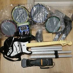 Xbox 360 Rock Band Drumset Bundle Guitar Disk Mic And More