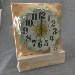 New Nos Vintage General Electric Ge Kitchen Wall Clock Flower 2197 Avacado