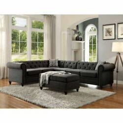Contemporary Look Sectional Sofa Charcoal Linen Nailhead Trim Curved On Armrest