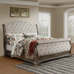 New Queen King Sleigh Bed Antique Gray Upholstered Tufted Traditional Furniture