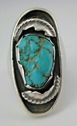 Don Lucas Turquoise Sterling Statement Ring Anglo Earlier Signed Ld Southwestern