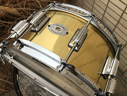 Rogers Usa Dyna-sonic 6.5x14 7-line Brass Snare Drum 37bn New