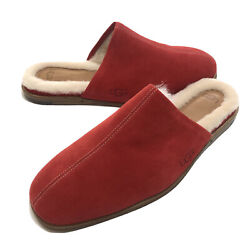 Ugg Chateau Slip On Samba Red Leather Shearling Mens Slippers Size Us 10 New