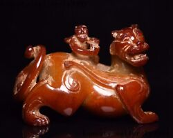 China Hetian Jade Carved Mother And Child Animal Brave Troops Pixiu Beast Statue