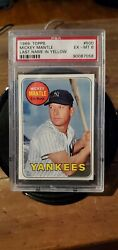 1969 Topps 500 Mickey Mantle Yellow Name Yankees Psa 6+++++ Ex Mt
