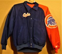 Chicago Cubs Snap Front Blue/red Size Small Baseball Mlb Jacket W/3 Caps