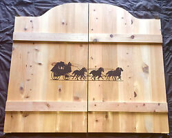 24-36 Western Stagecoach Horses Saloon Cafe Swinging Doors - Decor Game Room