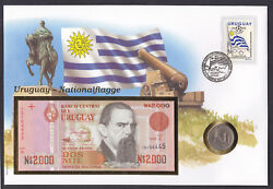 Uruguay 1981 Coin And 1989 Banknote On Stamp Cover National Flag South American