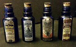 4... Vintage Style Small Embalming Blue Glass Bottles ..handcrafted By Artist..