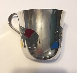 And Co Sterling Enamel Childand039s Cup Circus Elephants 1956-1965