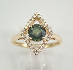 14k Yellow Gold Diamond And Forest Green Sapphire Engagement Ring Size 7