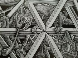 quot;STARSquot; 2 Chameleons in a Polyhedral Cage Floating Though Space M C Escher Print